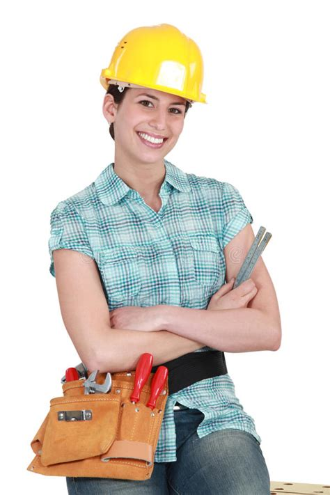 female builder royalty  stock  image