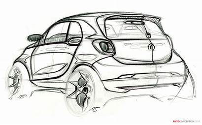 Smart Sketch Fortwo Forfour Drawing Sketches Concept