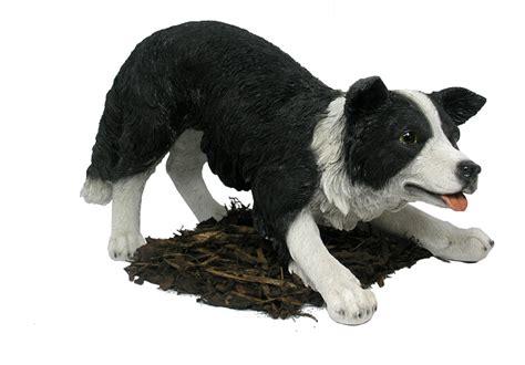 border collie sheepdog resin garden ornament