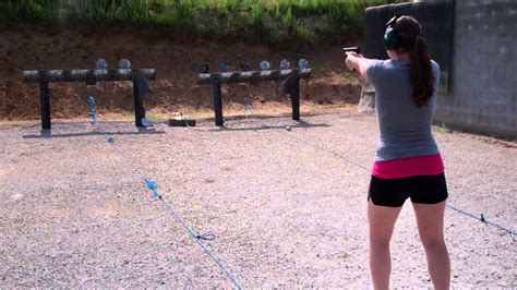 hot girl shooting plate rack mpc pistol youtube