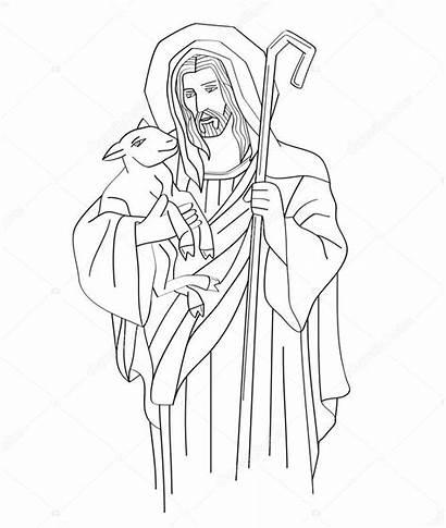 Jesus Christ Coloring Jezus Shepherd Drawing Sketch