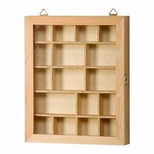 Vitrine En Bois : vitrine compartiments en bois 23 x 4 x 28 cm ~ Teatrodelosmanantiales.com Idées de Décoration