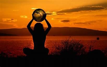 Meditation Silhouette Earth Harmony 4k Background Solitude
