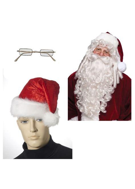santa hat wig beard  glasses costume kit christmas