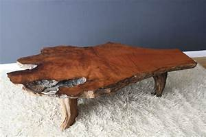 vintage mid century burl wood slab coffee table With modern wood slab coffee table