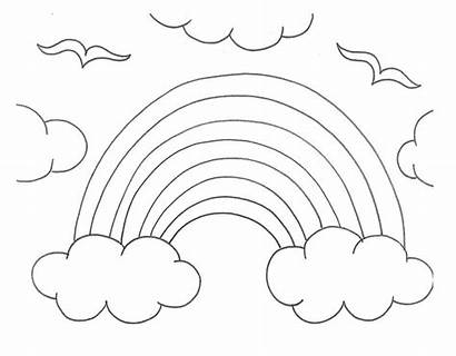 Rainbow Coloring Pages Template Clouds Printable Drawing