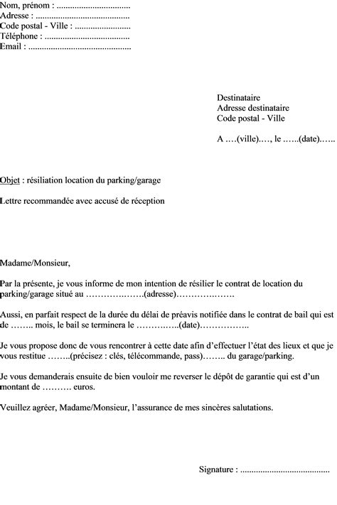 contrat de location parking modèle mod 232 le de lettre demande r 233 siliation contrat de location d