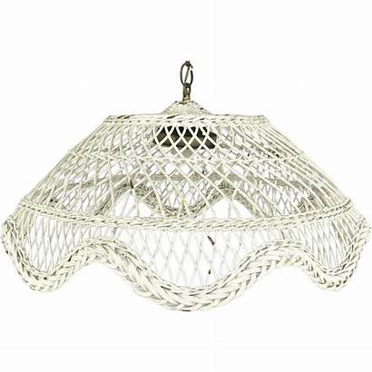 Wicker Hanging Painted Chandelier Domed Rubylane