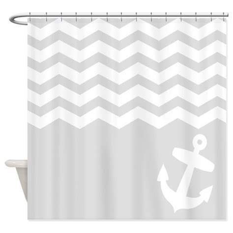 grey and white chevron curtains canada nautical gray chevron anchor shower curtain by