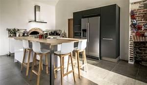 Cuisine scandinave avec ilot modele harmonie for Idee deco cuisine avec magasin mobilier scandinave
