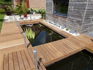 terrasse en bois exotique jardin d39exterieur galaxy With bassin de terrasse en bois