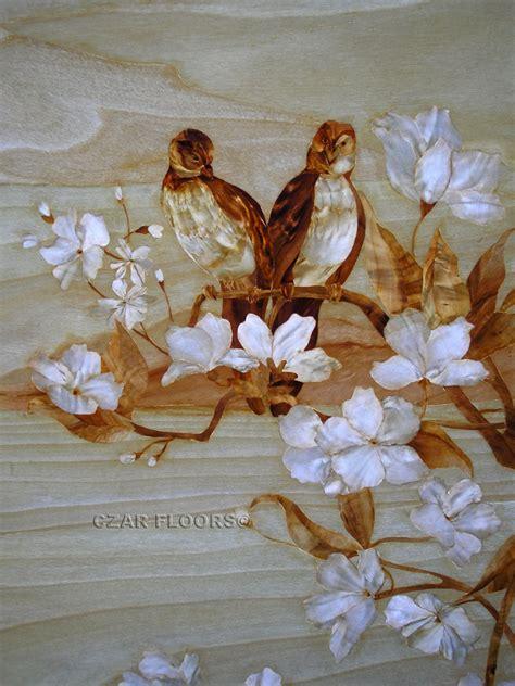 marquetry model birds custom wood stone flooring