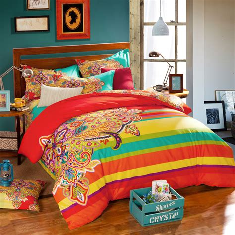 colorful bohemian bedding aliexpress com buy bohemian style colorful geometric patterns and rainbow striped bedding sets