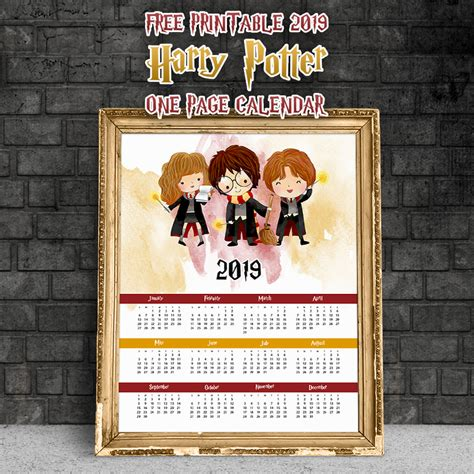 printable  harry potter  page calendar
