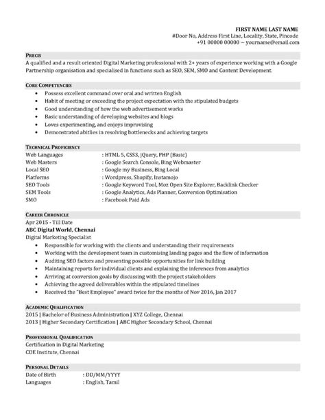 resume format of an entry level digital marketing professional