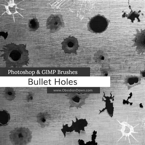 bullet holes photoshop  gimp brushes  redheadstock