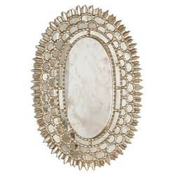 Worlds Away Carmelita Silver Leafed Oval Mirror I Zinc Door