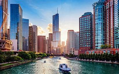 Chicago River Illinois Cities Usa America Summer