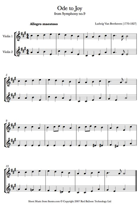 ode to joy violin sheet music beethoven ode to joy sheet music for violin duet