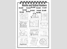Months and Ordinal Numbers Interactive worksheet