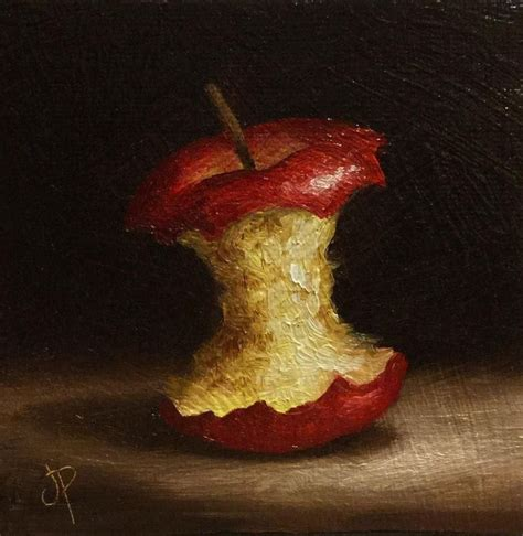 Little Apple core, J Palmer Original oil still life mini ...