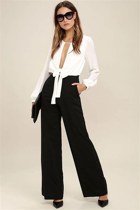white and black jumpsuit black and white jumpsuit wide leg jumpsuit 76 00