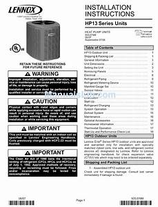 Lennox Hp13 Series Installation Instructions Manual Pdf