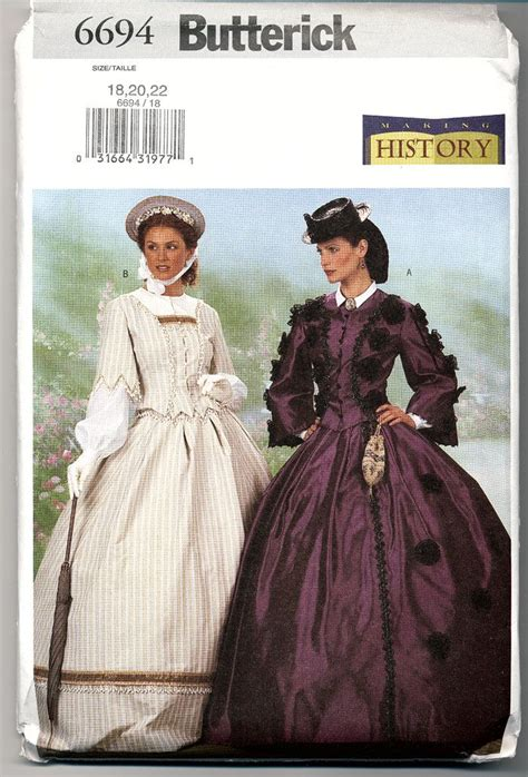 butterick  costume pattern victorian dresses civil