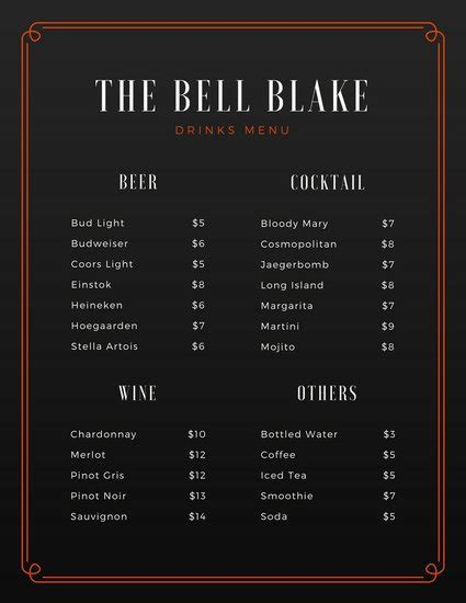 bar menu template customize 246 bar menu templates canva