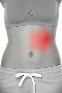 Female Body Pain - Stomach Injury Stock Photo