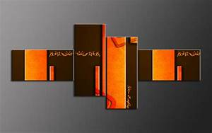 Giclee canvas print orange abstract modern art panels