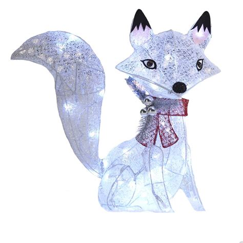 lowes lighted christmas decorations holiday living 24 in lighted glittered fox outdoor