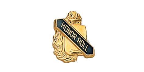 Honor Roll Scroll Shape Pin, Gold