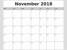 November 2018 Monthly Calendar Printable