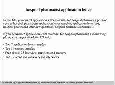 Hospital pharmacist application letter