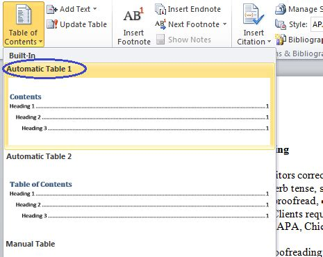 microsoft word table of contents microsoft table of contents word 2010