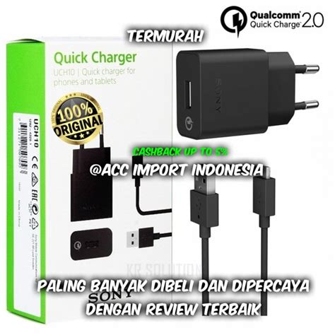 jual charger sony xperia uch10 fast charging garansi