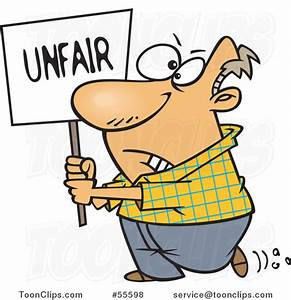 Cartoon Picketing White Guy Carrying an Unfair Sign #55598 ...