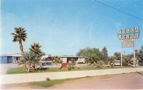 yucca lodge gila bend arizona vintage postcard