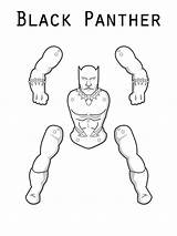 Panther Coloring Cut Pages Printable Marvel Superhero sketch template