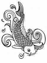 Koi Coloring Fish Pages Adult Printable Coy Adults Japanese Realistic Drawing Line Simple Getdrawings Favorite Print Getcolorings Recommended Bright Choose sketch template