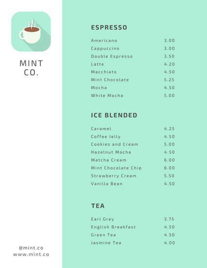 mint coffee shop menu templates  canva coffee shop