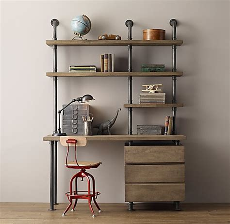 desk with drawers and shelves industrial pipe single desk shelving with drawers