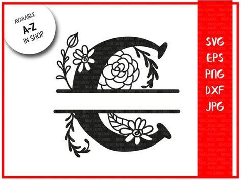 monogram letter  split letter  silhouette files svg etsy