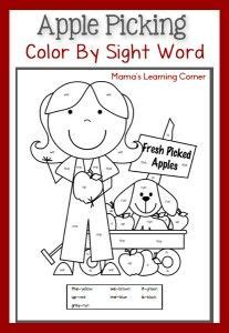color  sight worksheet apple picking  images