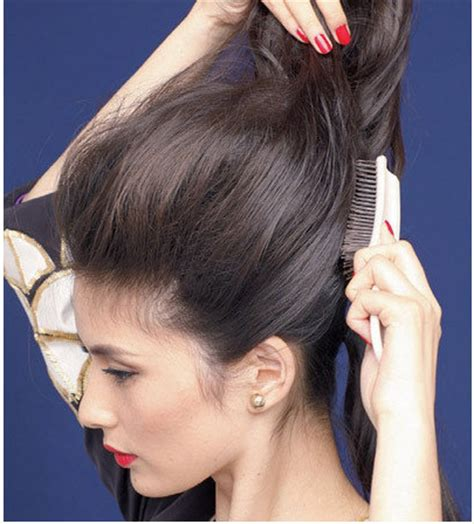 high fashion quot poof low ponytail quot hairstyle diy tutorial zibees com fashion guilt diy