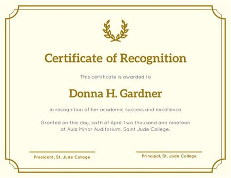 Certificate Of Recognition Template Customize 204 Recognition Certificate Templates