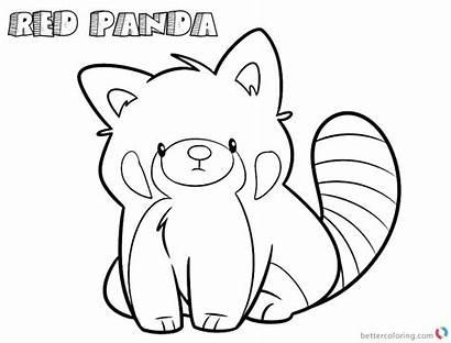 Panda Coloring Pages Drawing Line Cartoon Printable