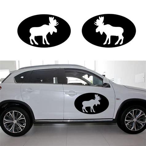2pcs/set Removable Diy Moose Oval Graphical Car Sticker