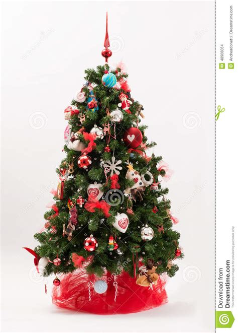 decorated christmas tree   red  white theme stock